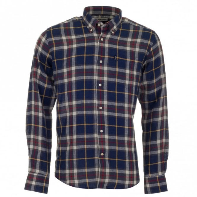 Barbour Calvert Linen Shirt - Navy Check