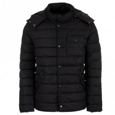 Cowl Quilted Jacket - Navy