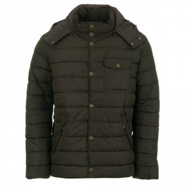 Cowl Quilted Jacket - Olive Green