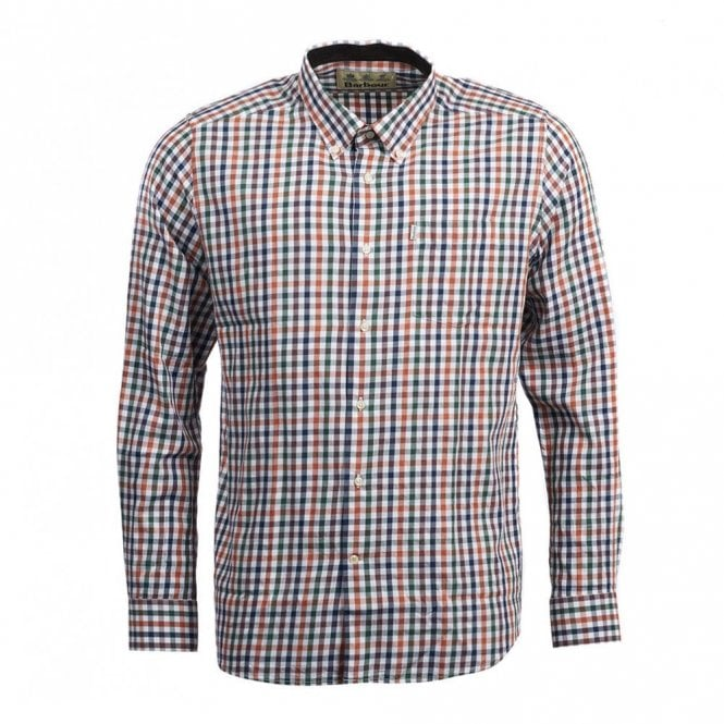 Barbour Harlaw Wool Mix Shirt Rustic - Green Check