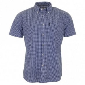 Hector Tailored Fit Short Sleeve Shirt - Navy Check