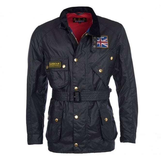 Barbour International Mens Union Jack Wax Jacket - Black