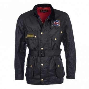 Mens Union Jack Wax Jacket - Black