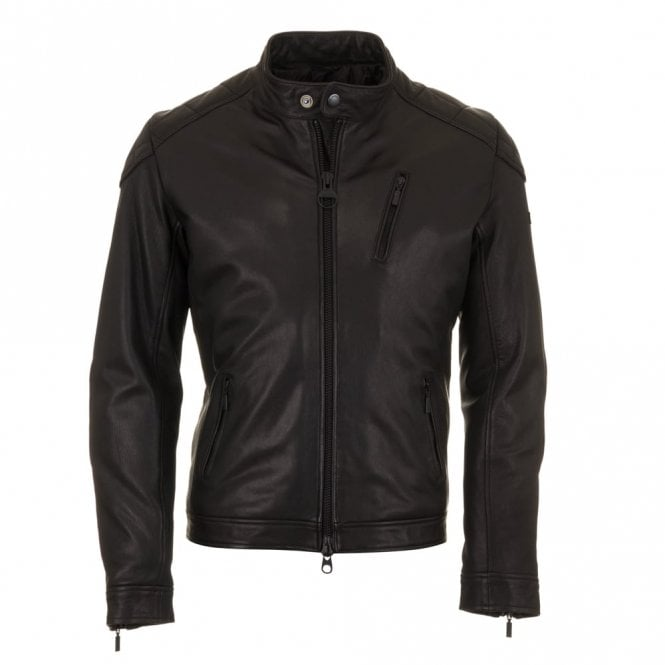 Barbour International Winter Sprocket Leather Jacket - Black