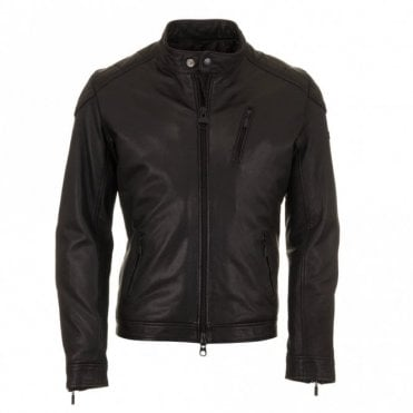 Winter Sprocket Leather Jacket - Black