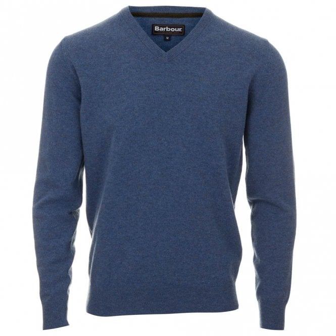 Barbour Lambswool V Neck Sweater - Blue