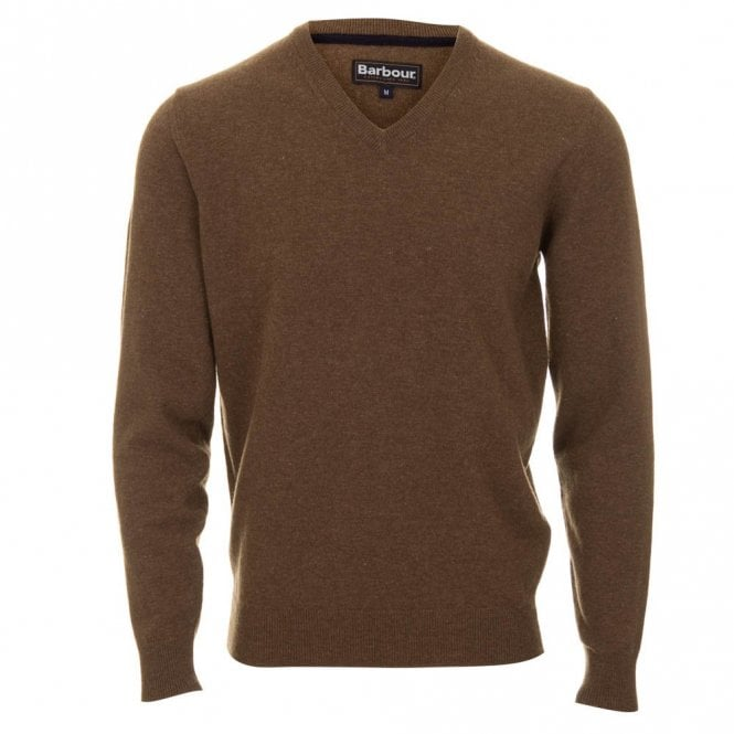 Barbour Lambswool V Neck Sweater - Brown