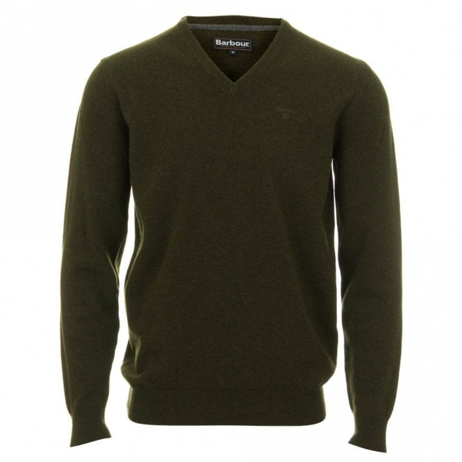 Barbour Lambswool V Neck Sweater - Green