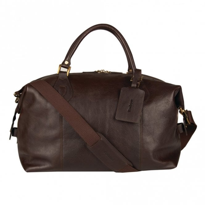 Barbour Leather Medium Travel Explorer Bag - Chocolate Brown