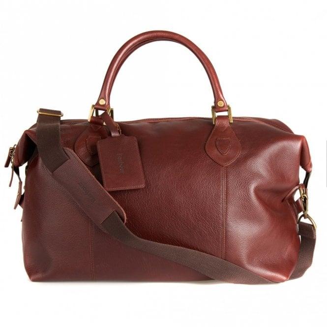 Barbour Leather Medium Travel Explorer Bag - Dark Brown