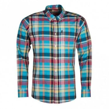 Madras 2 Tailored Fit Shirt - Aqua