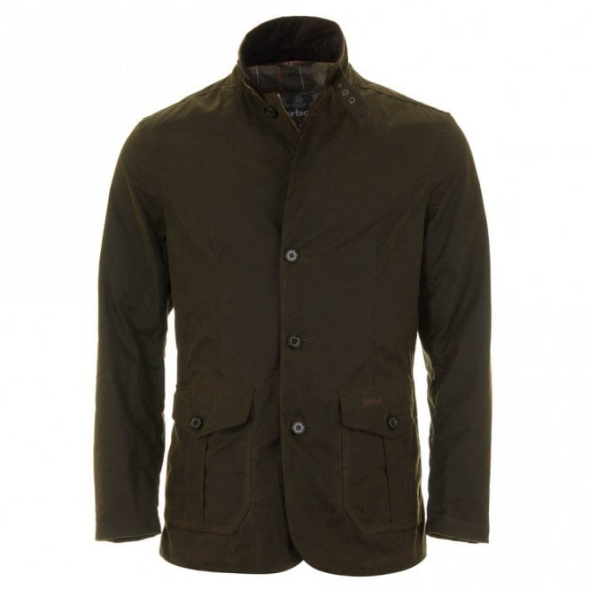 Barbour Men's Lutz Wax Jacket - Olive Green