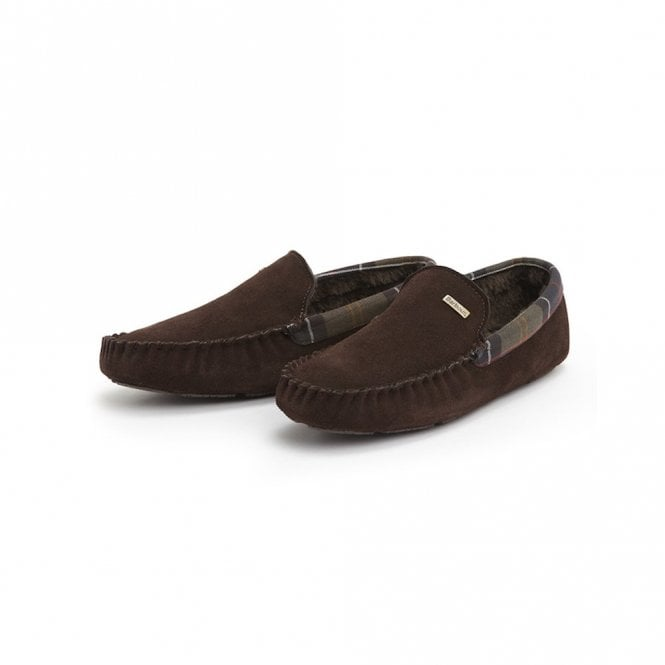 Barbour Monty Suede Slippers - Dark Brown