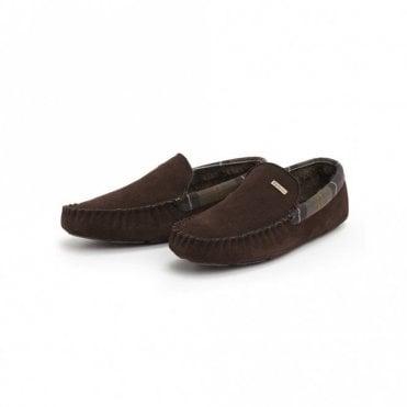 Barbour Monty Suede Slippers - Dark Brown