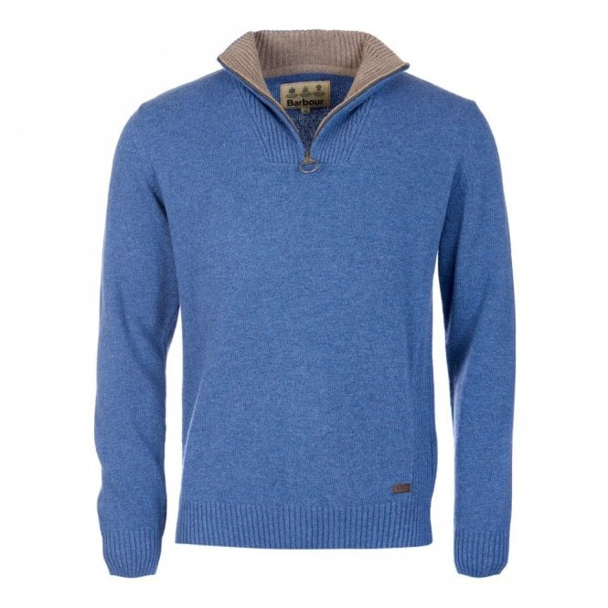 Barbour Nelson Essential Half Zip Sweater Chambray - Blue
