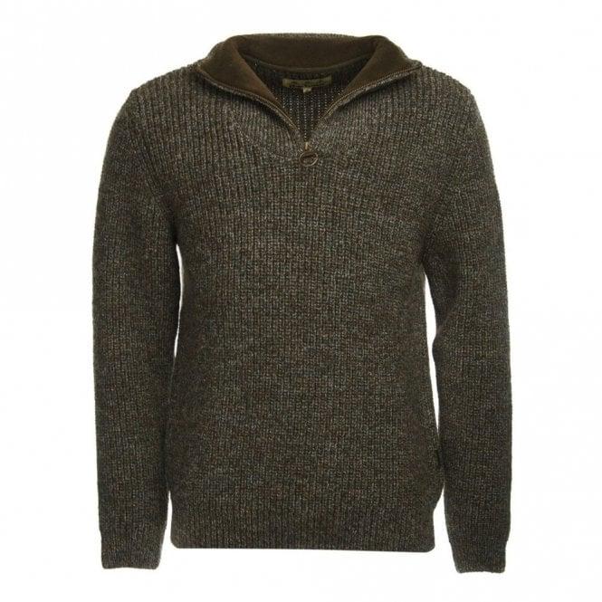 Barbour New Tyne Half Zip Sweater Derby Tweed - Green