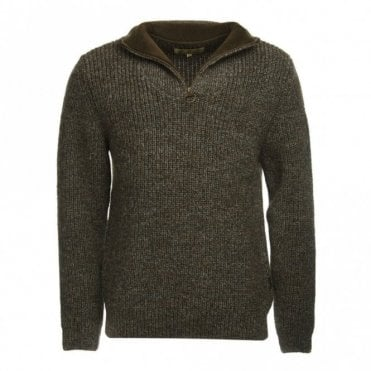 New Tyne Half Zip Sweater Derby Tweed - Green