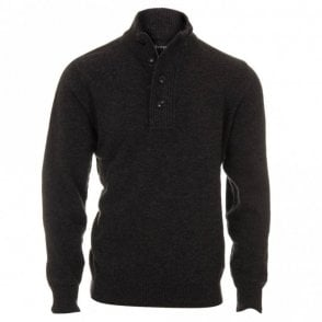 Patch Half Zip Jumper - Charcoal Grey