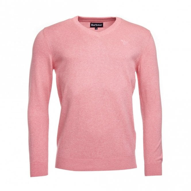 Barbour Pima Cotton V-neck - Marl Pink