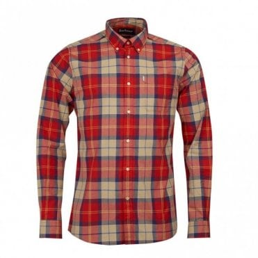 Toward Slim Fit Tartan Shirt - Red Check