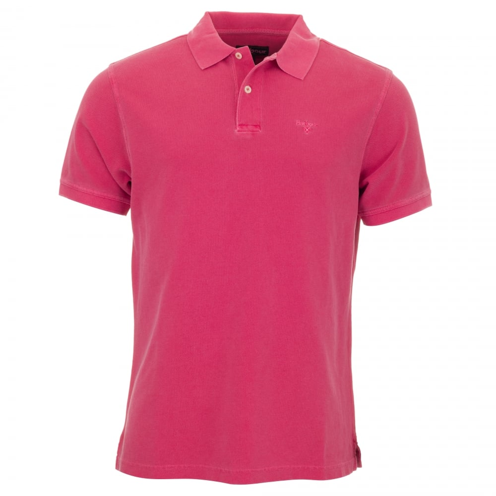 Barbour washed sports polo shirt pink for Mens pink shirts uk