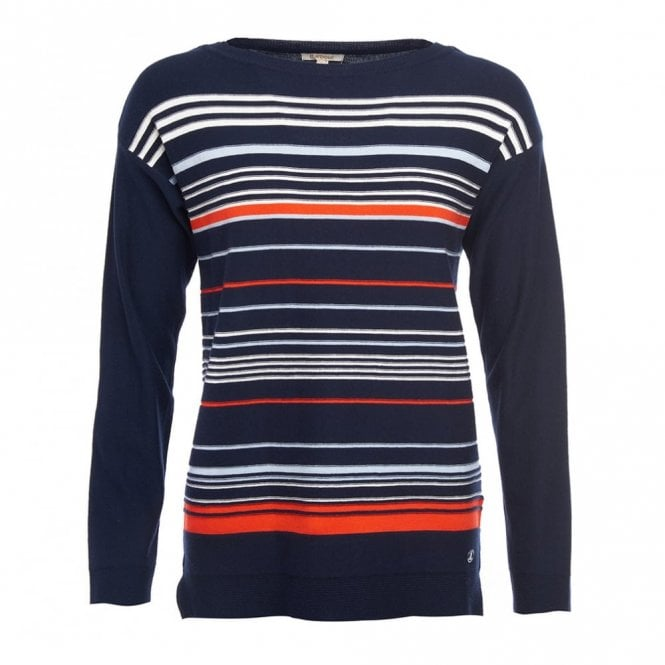 Barbour Women's Whitby Knit Navy/cloud/signal Orange - Navy