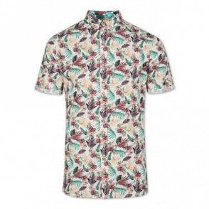 Slim Fit Beach Flower Short Sleeve Shirt - Cream