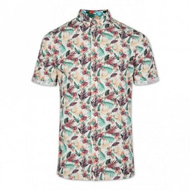 Slim Fit Beach Flower Short Sleeve Shirt - Cream