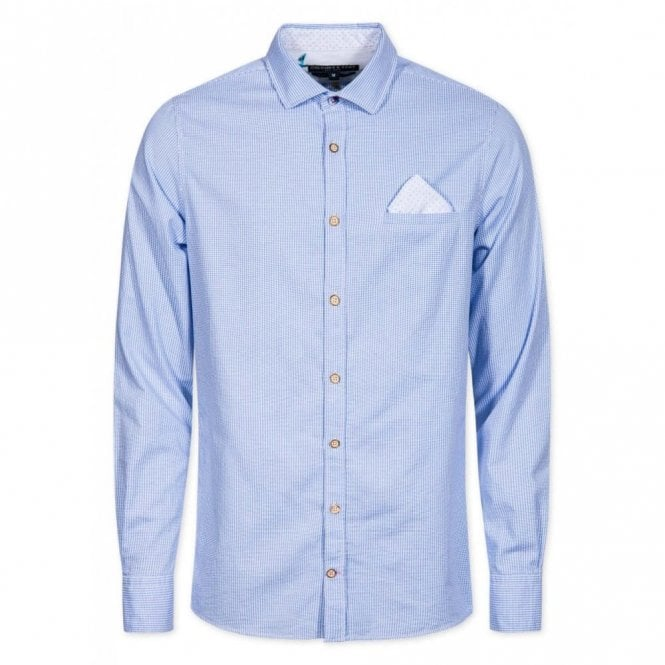 COLOURS & SONS Slim Fit Blue Jacquard Check Shirt - Blue