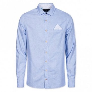 Slim Fit Blue Jacquard Check Shirt - Blue