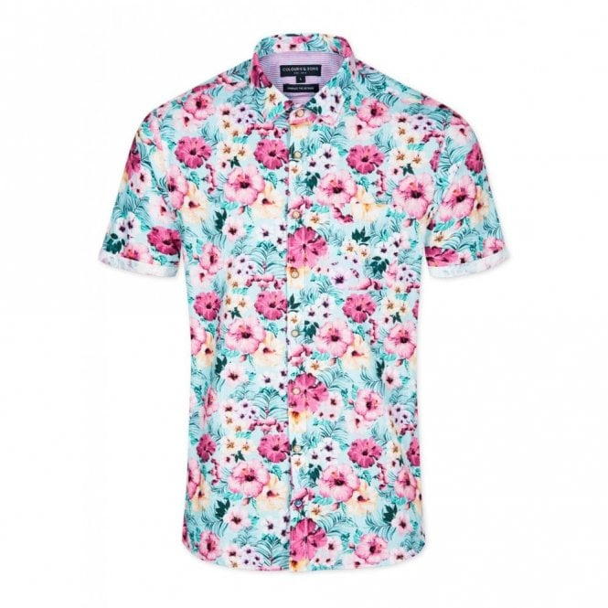 COLOURS & SONS Slim Fit Flower Power Shirt - Green