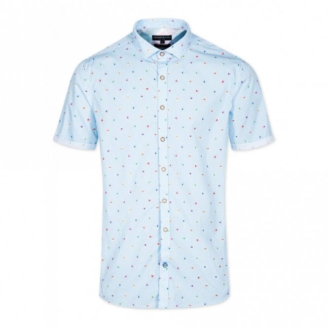 COLOURS & SONS Slim Fit Ice Cream Party Short Sleeve Shirt - Blue Stripe
