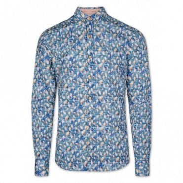 Slim Fit Koi Carp Long Sleeve Shirt - Blue