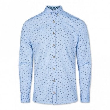 Slim Fit Palm Tree Shirt - Blue