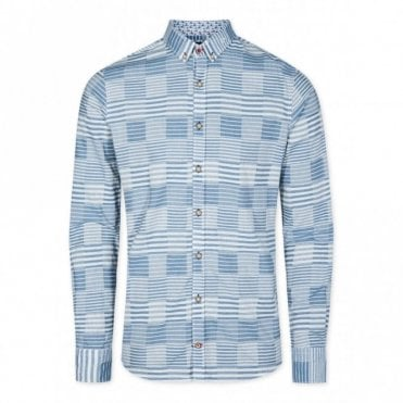 Slim Fit Sailors Patchwork Shirt - Blue