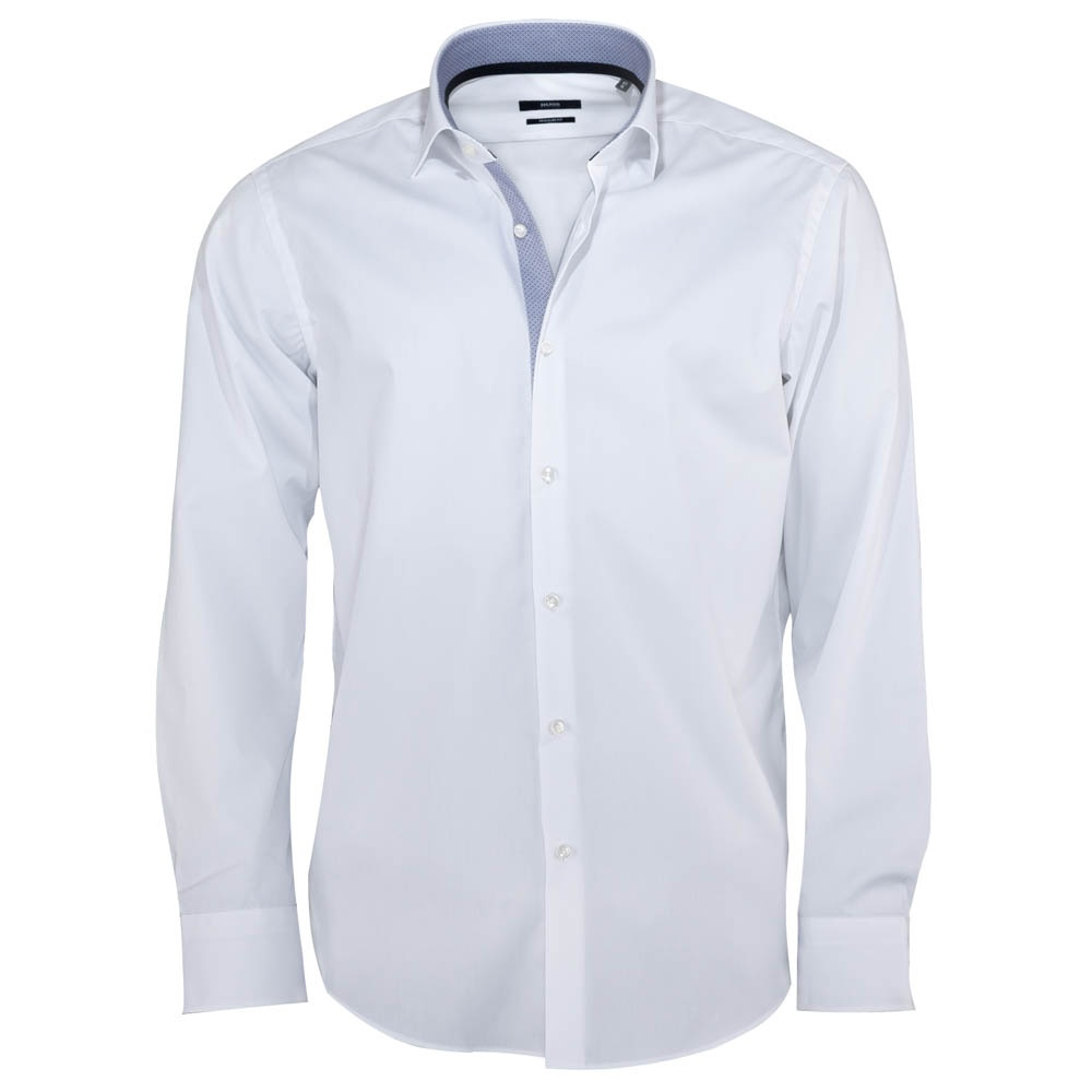 Hugo Boss Eraldin White Shirt with Blue Collar