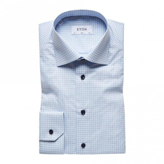 ETON Contemporary Fit Blue/white Check Poplin Shirt