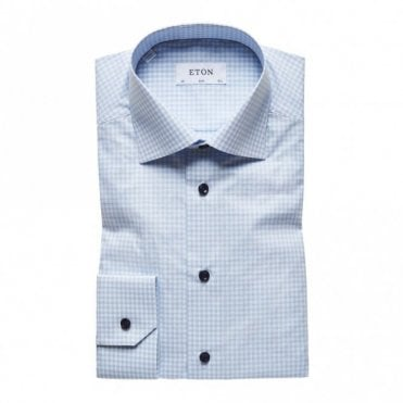 Contemporary Fit Blue/white Check Poplin Shirt