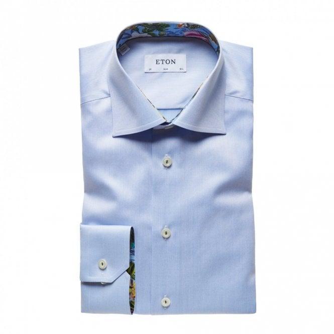 ETON Contemporary Fit Plain Blue Contrast Innor Collar