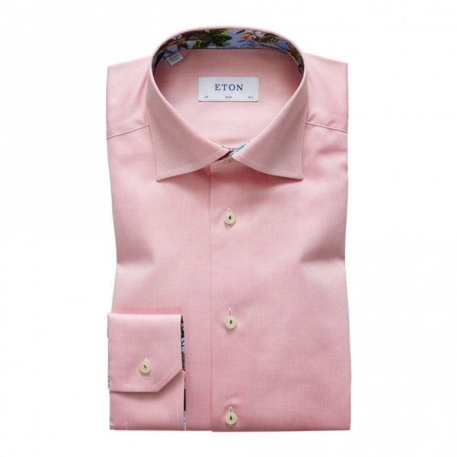 ETON Contemporary Fit Plain Pink Contrast Innor Collar Shirt