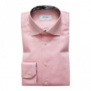 Contemporary Fit Plain Pink Contrast Innor Collar Shirt