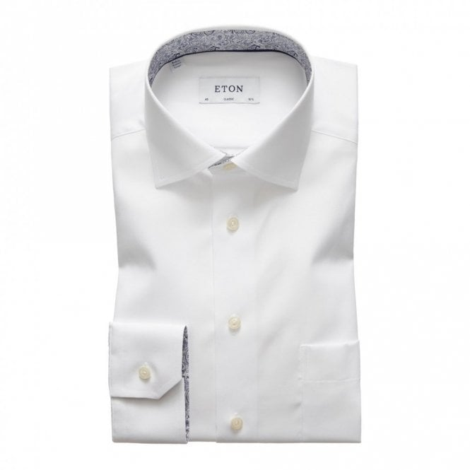 ETON Contemporary Fit Plain White Contrasting Paisley innor