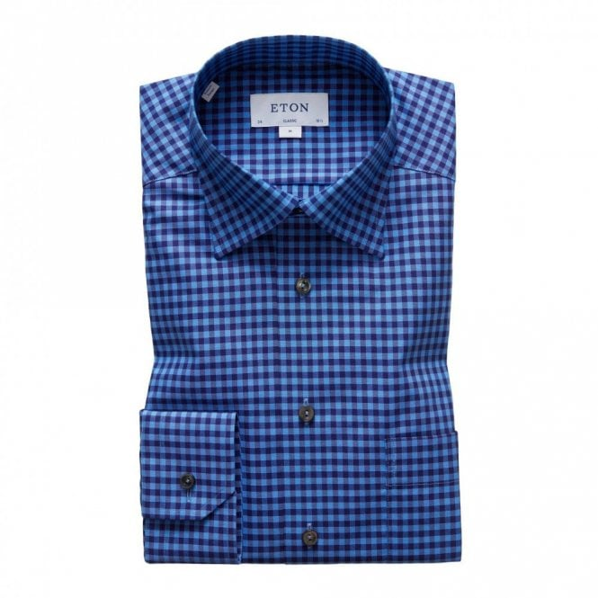 ETON Contemporary Fit Signature Twill Blue Check Shirt