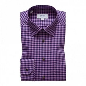 Contemporary Fit Signature Twill Blue/pink Check Shirt