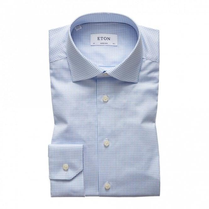 ETON Contemporary Fit Signature Twill Pale Blue Check Shirt
