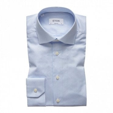 Contemporary Fit Signature Twill Pale Blue Check Shirt