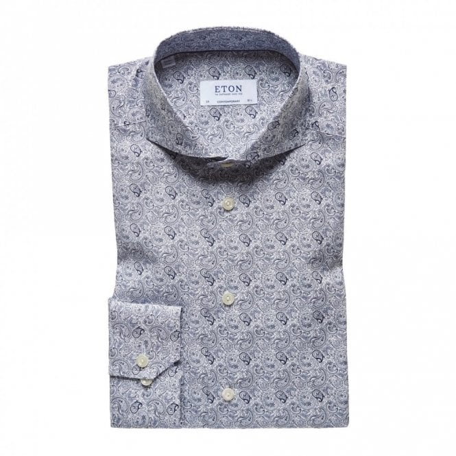 ETON Slim Fit Blue Paisley Print Shirt