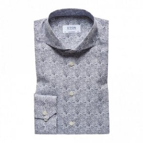 Slim Fit Blue Paisley Print Shirt