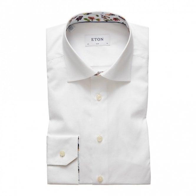 ETON Slim Fit contrast collar Shirt White
