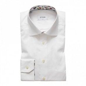 Slim Fit contrast collar Shirt White